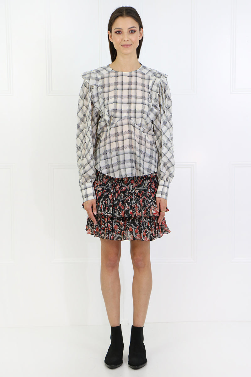 ADAM CHECK BLOUSE L/S ECRU/BLACK