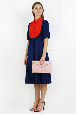 CONTRAST BIB SHIRT DRESS S/S INDIGO BLUE