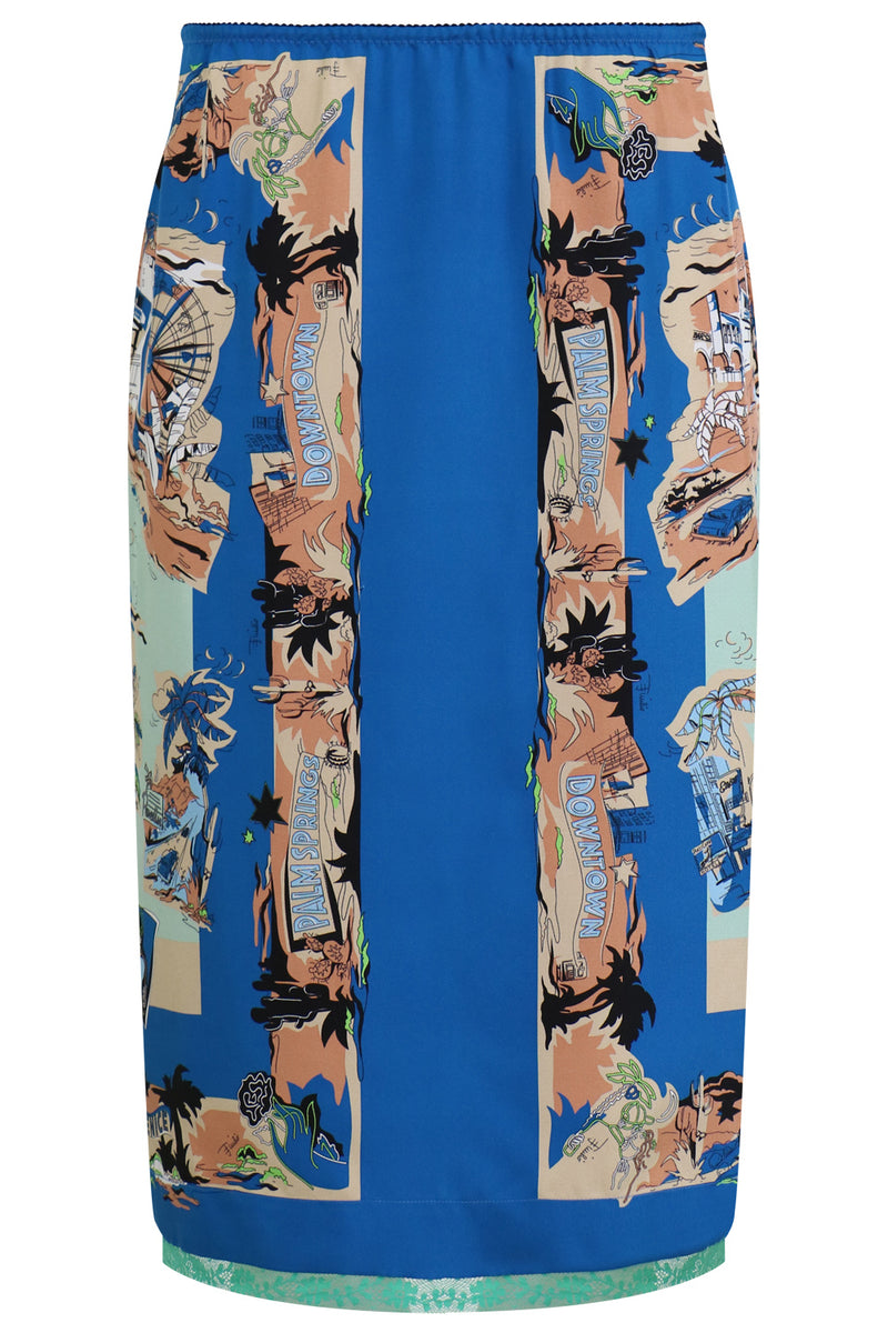 HOLLYWOOD PRINT LACE TRIM SKIRT OTTANIO BLUE