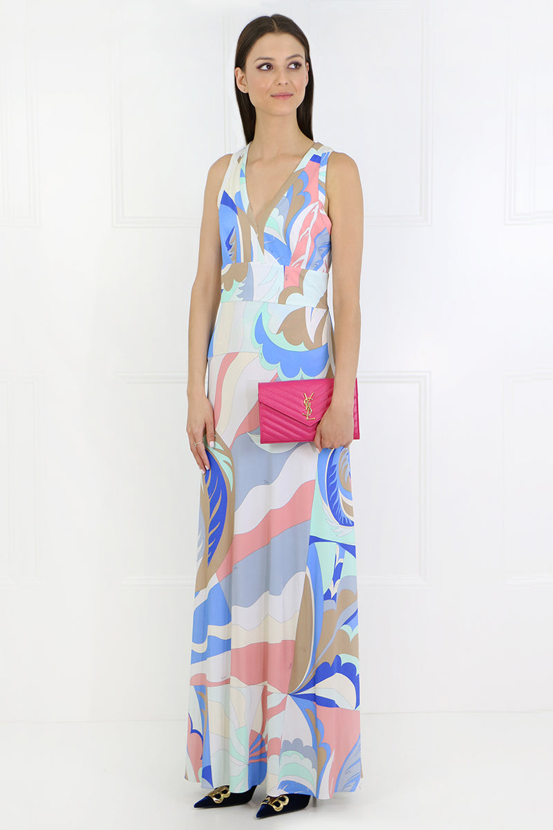 V-NECK ACAPULCO GOWN S/LESS BLUE