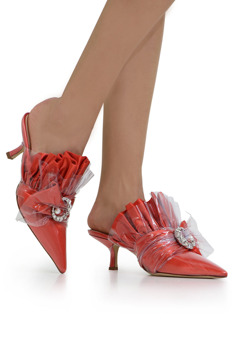 CRYSTAL MULE HEEL 45MM CORAL