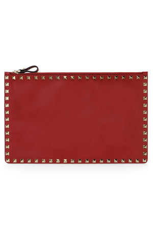 ROCKSTUD FLAT POUCH SMOOTH LEATHER ROSSO