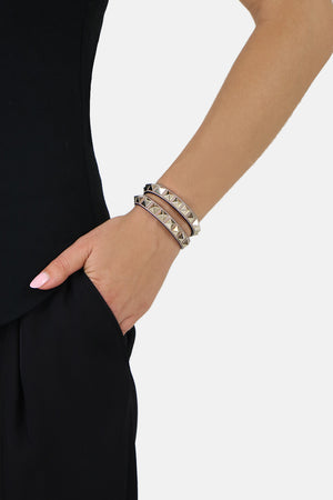 ROCKSTUD NO LIMIT DOUBLE WRAP CUFF POUDRE