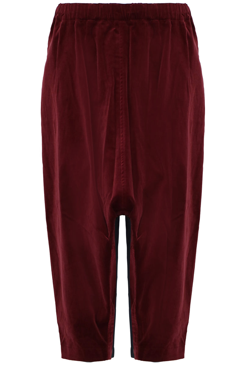 DROP CROTCH VELVET PANTS BURGUNDY