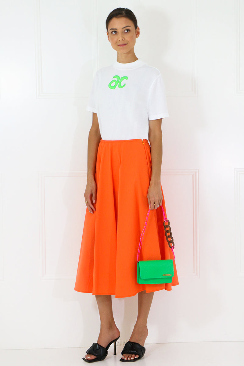 PLEATED CIRCLE SKIRT ORANGE
