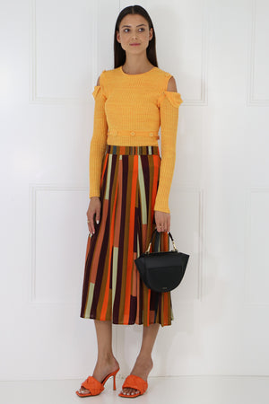 LATEICIA STRIPED SKIRT BROWN