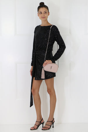 SEQUIN MINI WRAP DRESS L/S BLACK