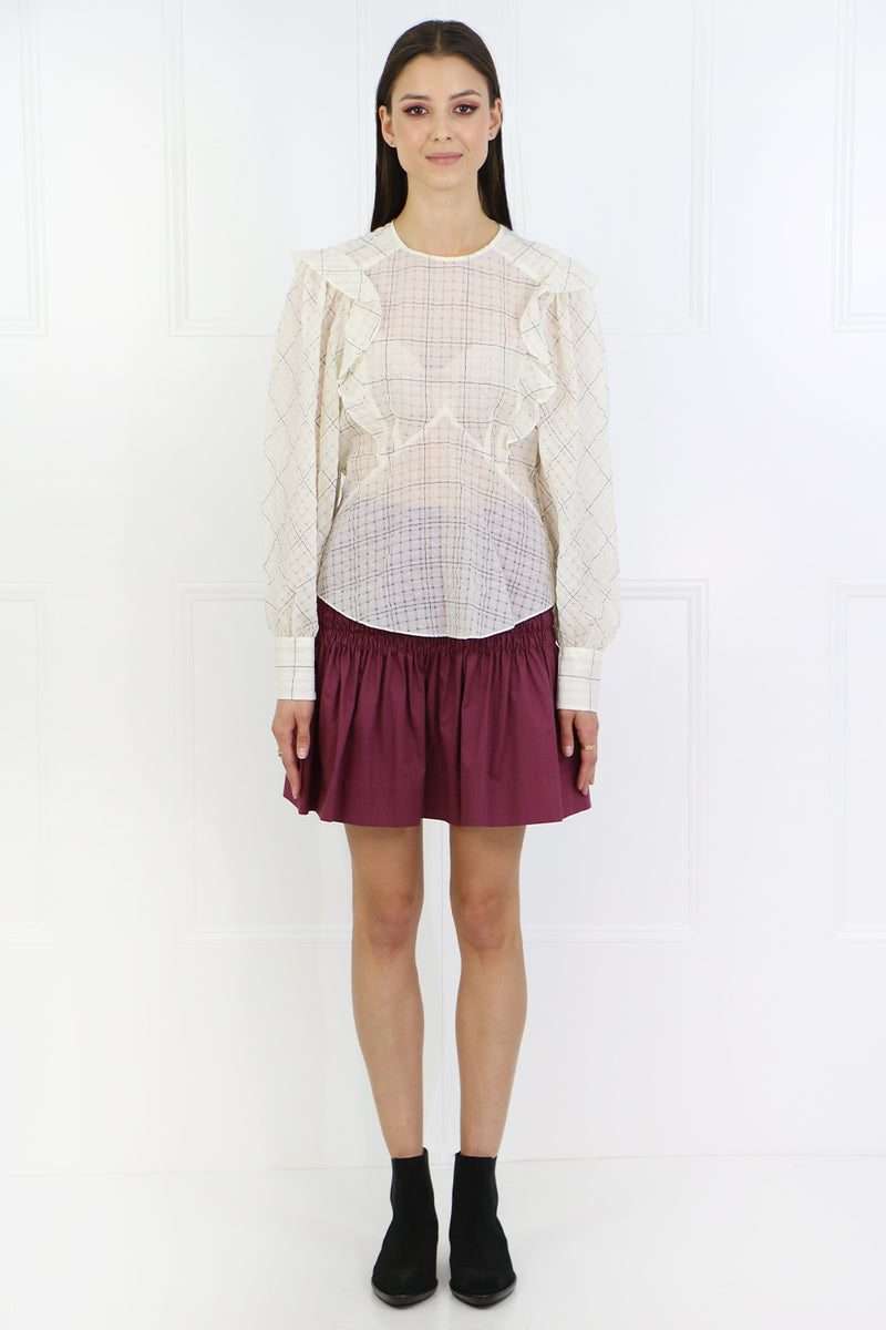 ADAM CHECK BLOUSE L/S ECRU