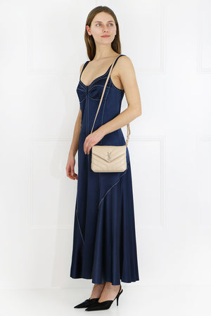 CONTRAST STITCHING SLIP DRESS S/LESS NAVY BLUE