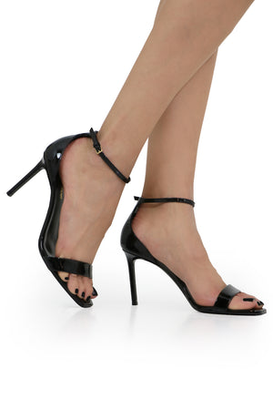AMBER SANDAL 85MM PATENT BLACK