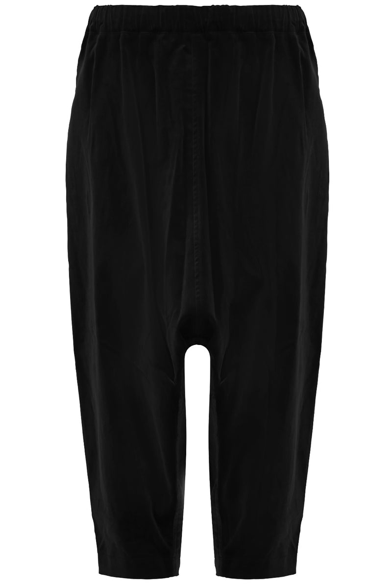DROP CROTCH VELVET PANTS BLACK