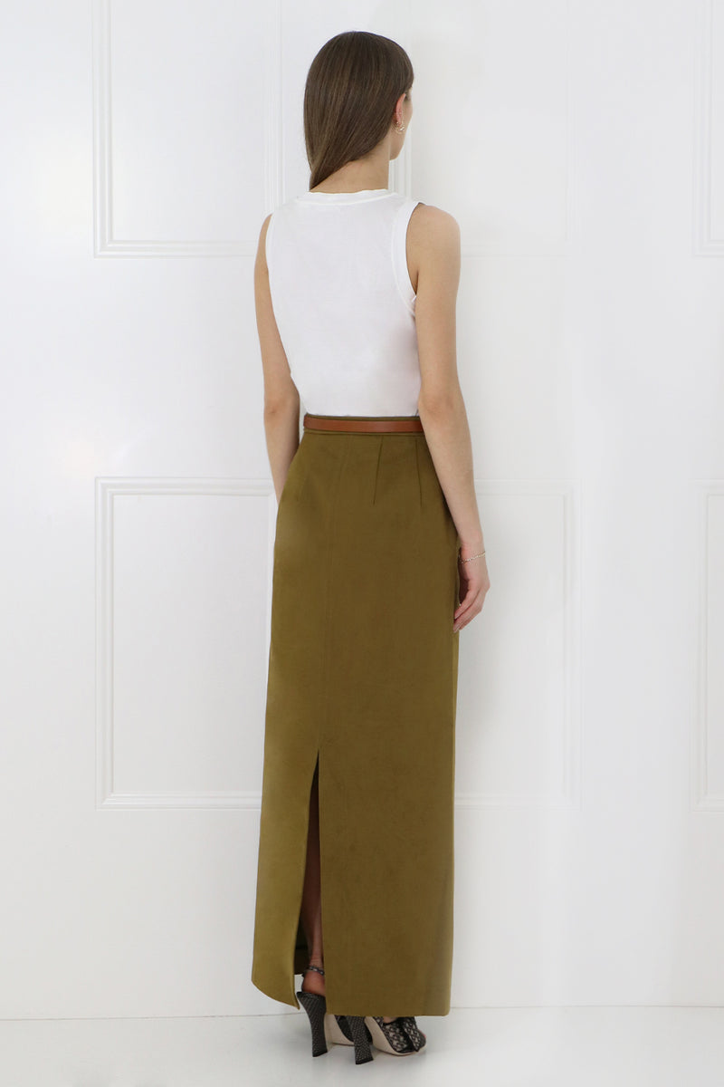 BUTTONED COLUMN SKIRT TOBACCO