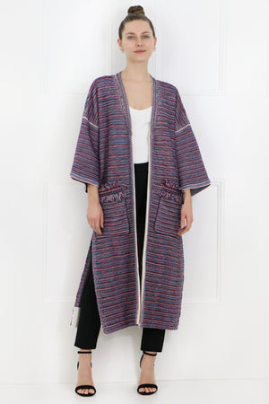 TEXTURED LONG KNIT CARDIGAN MULTI