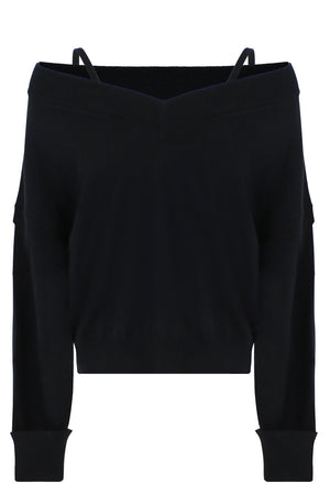 V-NECK KNIT WITH STRAP DETAIL L/S BLACK
