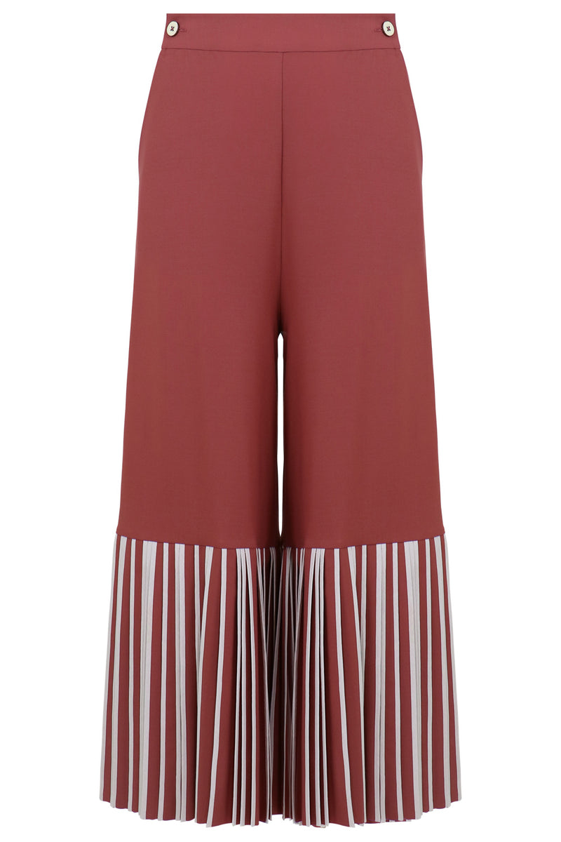 BOTTOM PLEAT CULOTTES EARTHY PINK/IVORY