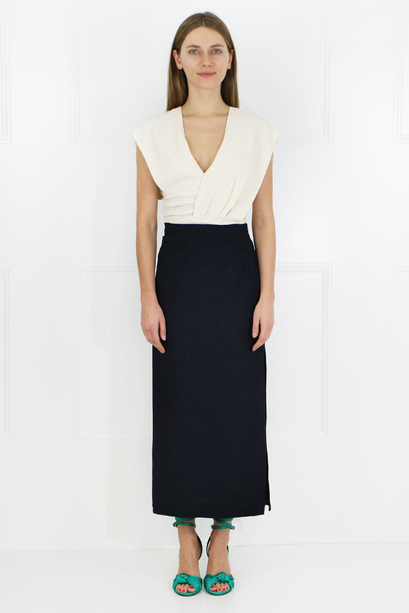 POPPY SIDE SPLIT SKIRT NAVY