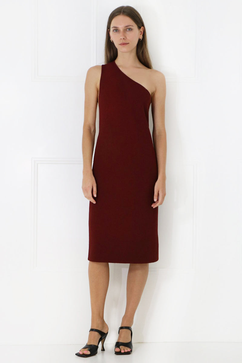 ONE SHOULDER DRESS RUST