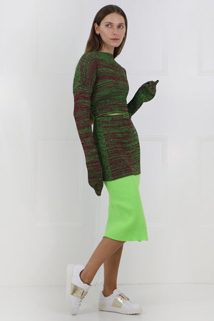 RIB KNIT SKIRT WITH SPLIT DAYGLOW GREEN
