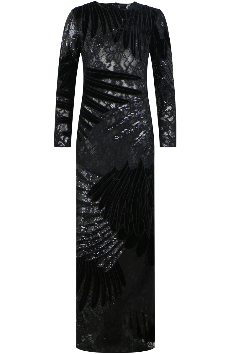 FEATHER APPLIQUE GOWN BLACK