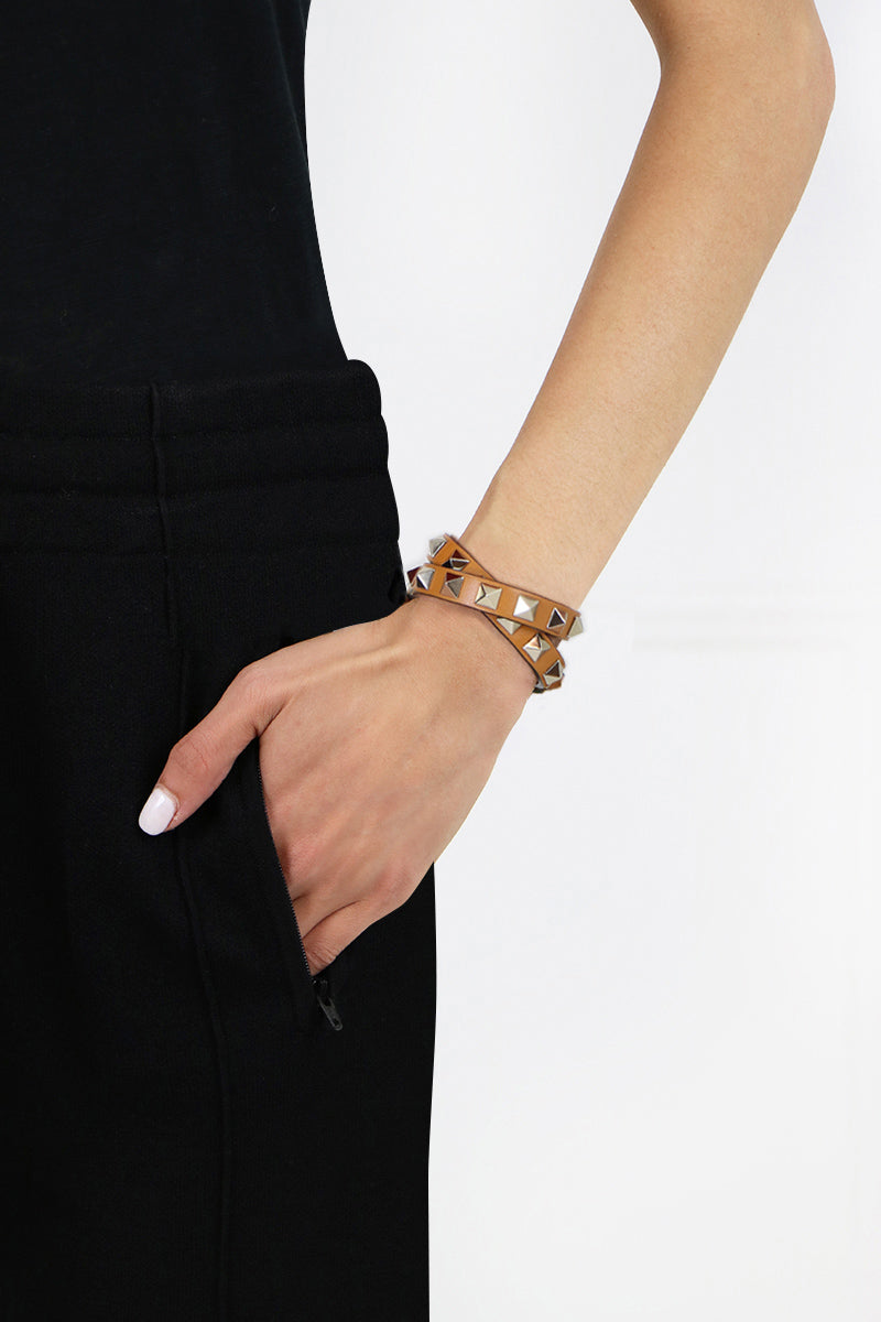ROCKSTUD WRAP LEATHER CUFF TAN