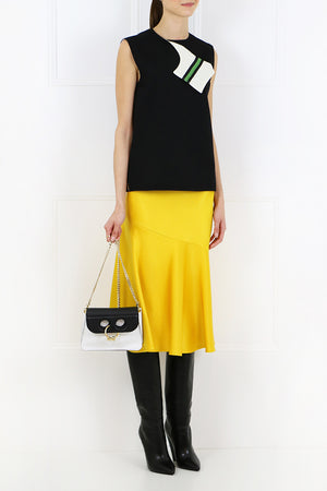 FLUTED MIDI SKIRT YELLOW
