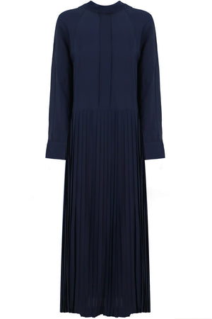 PLEATED MAXI DRESS L/S NAVY