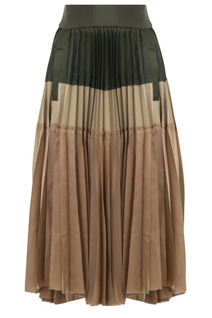 CONTRAST PLEATED SKIRT KHAKI/BEIGE