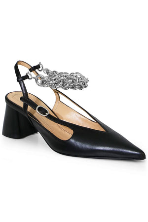DIEGO SLINGBACK WITH ANKLE CHAIN BLACK