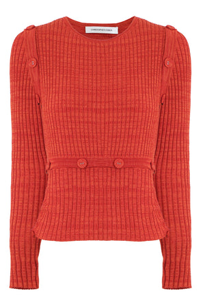 DECONSTRUCTED L/S KNIT TOP RED MARLE