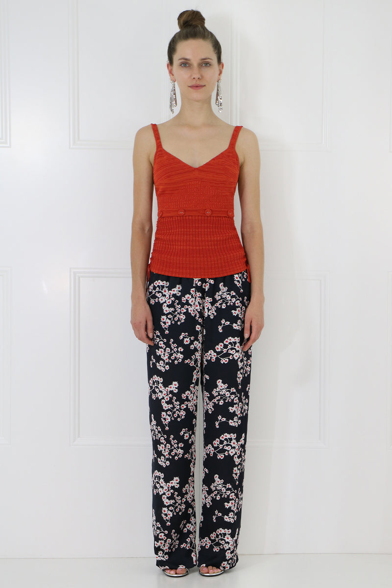 SAKURA PRINT WIDE LEG PANTS BLACK