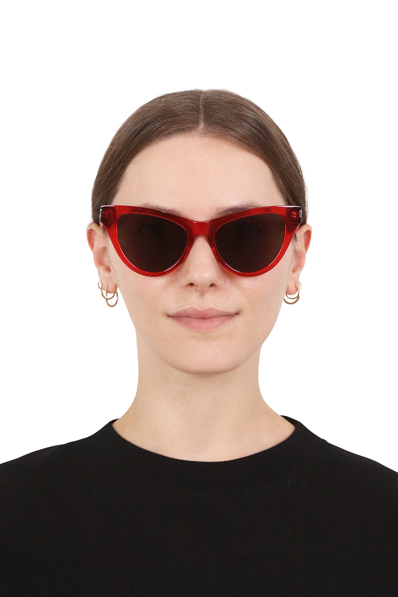 SL 425 CAT EYE SUNGLASSES TRANSPARENT RED