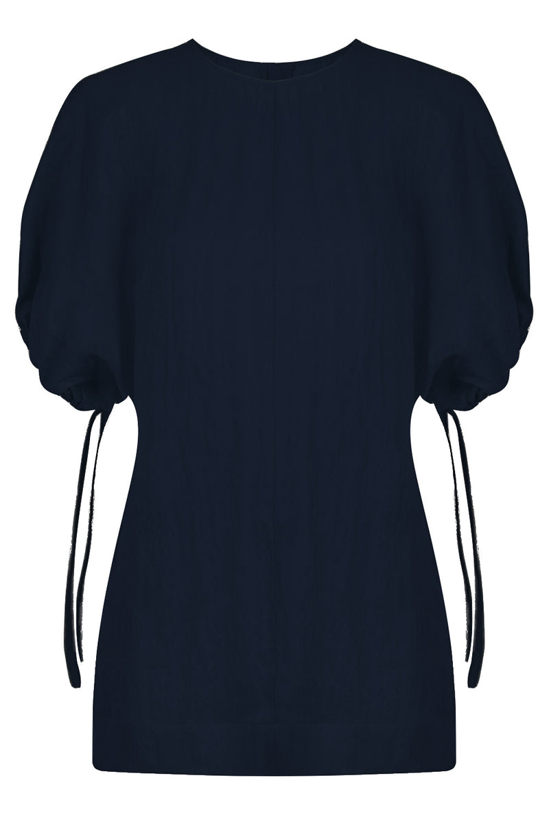 FLUID WRINKLE TOP S/S DARK BLUE