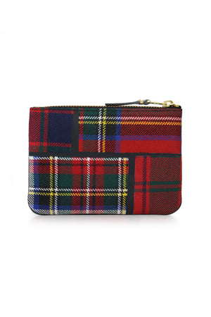 SMALL TARTAN PATCHWORK POUCH RED