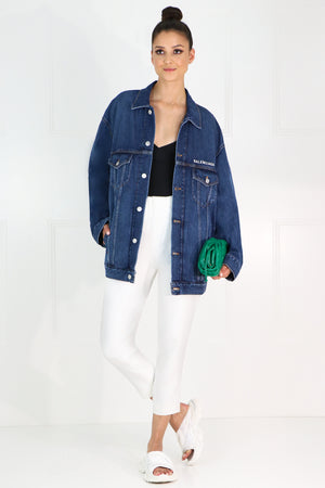 OVERSIZED LOGO DENIM JACKET INDIGO/WHITE