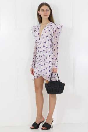 ETYA FLORAL PRINT DRESS L/S WHITE
