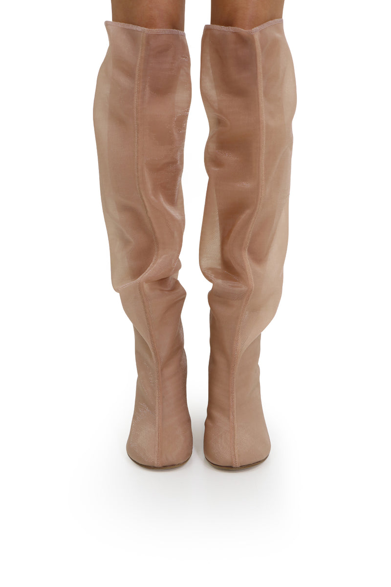KNEE HIGH BOOT WITH MESH WEDGE NUDE