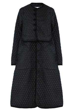NOIR QUILTED HOUNDSTOOTH COAT BLACK