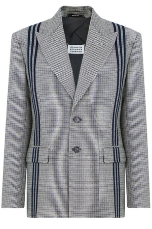 TWEED BLAZER WITH PINSTRIPE BLACK/WHITE