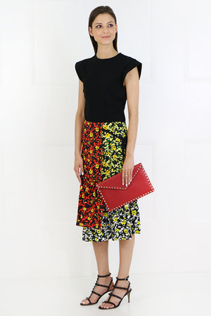 ASYMMETRIC MIDI SKIRT POPPY PRINT RED