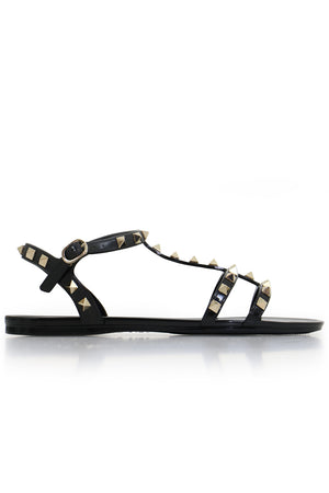ROCKSTUD SANDAL WITH ANKLE STRAP BLACK