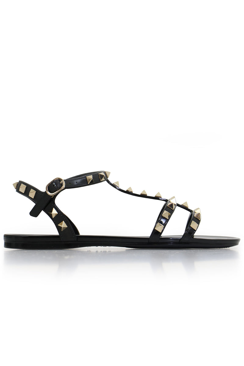 ROCKSTUD PVC SANDAL WITH ANKLE STRAP BLACK