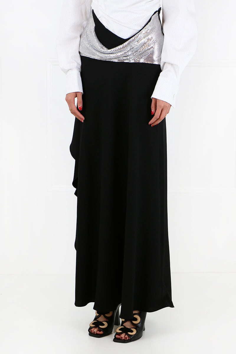 CHAINMAIL ASYMMETRIC MAXI SKIRT BLACK