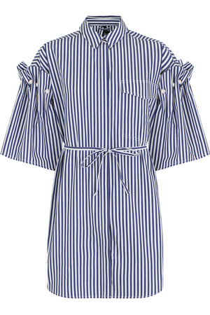 ELLAR STRIPE SHIRT DRESS S/S NAVY/WHITE