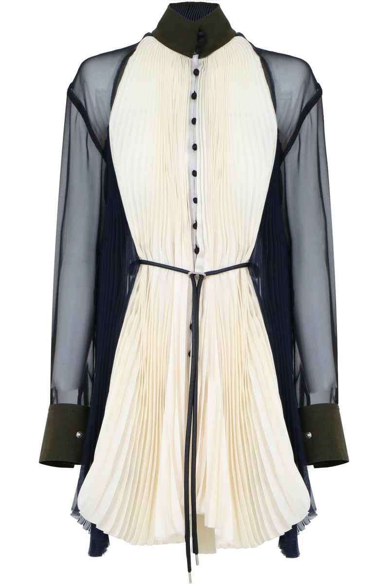 PLEATED BLOUSE WITH SHEER SLEEVE ECRU/NAVY