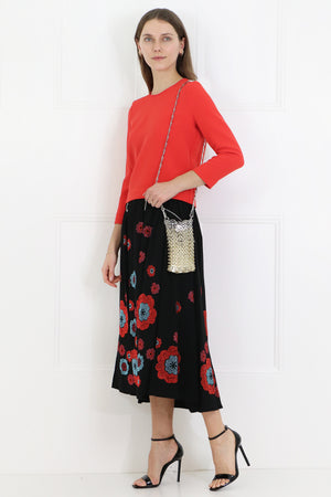 FLOWER DIAMANTE MIDI SKIRT BLACK