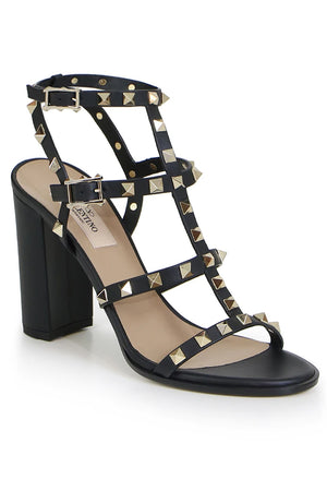 ROCKSTUD FOUR STRAP BLOCK HEEL 90MM SANDAL BLACK