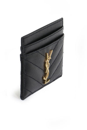 MONOGRAMME QUILTED CARD HOLDER BLACK/GOLD