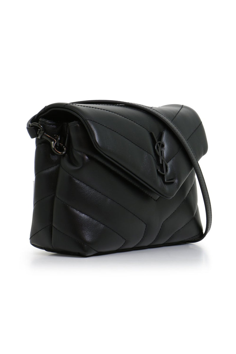 LOULOU TOY STRAP BAG BLACK/BLACK