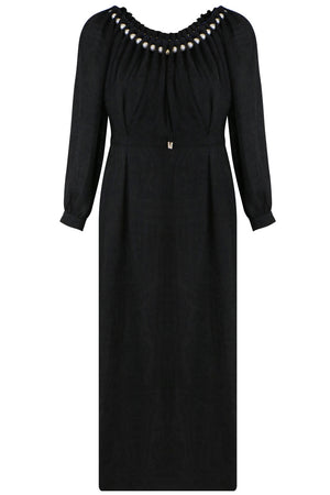 AILEEN EMBROIDERED DRESS L/S BLACK
