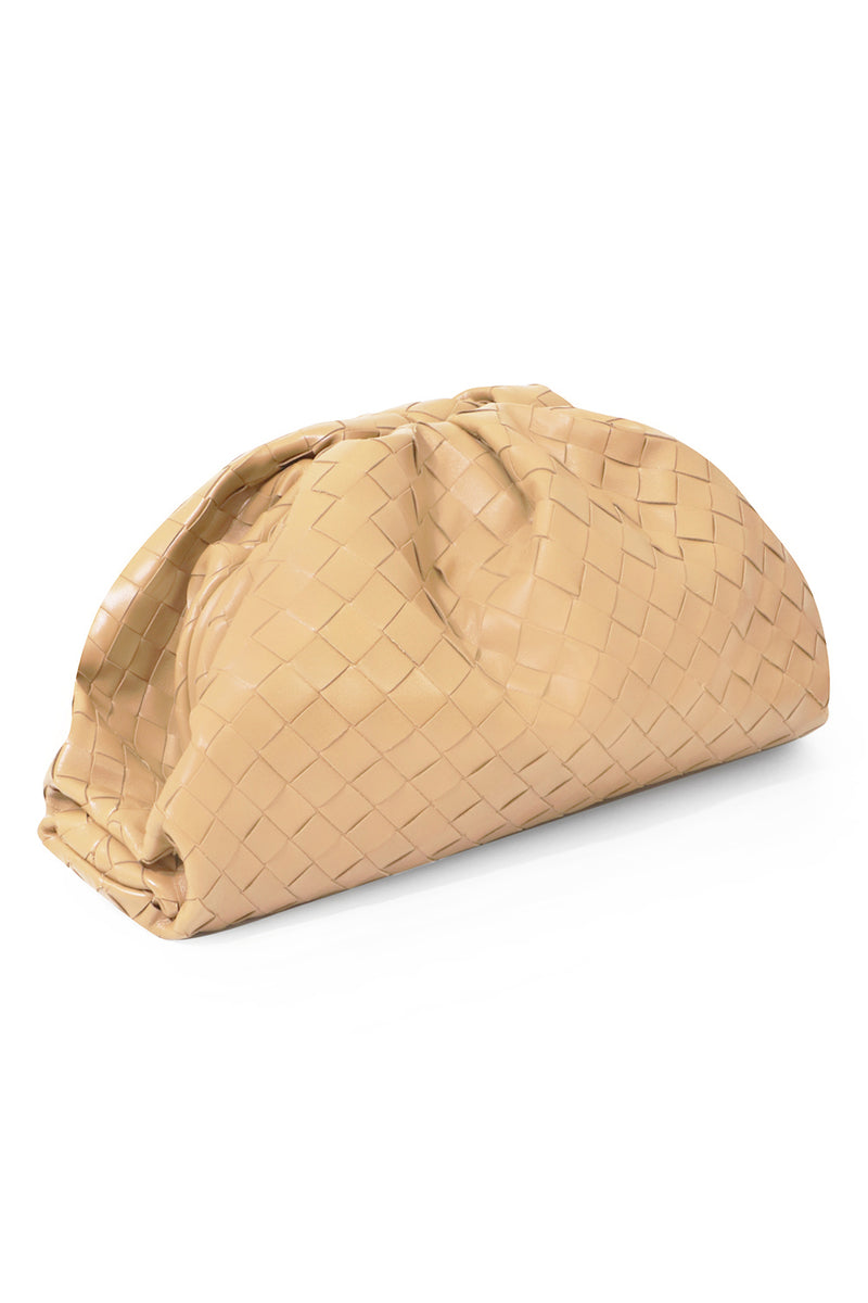THE POUCH WOVEN LEATHER NUDE